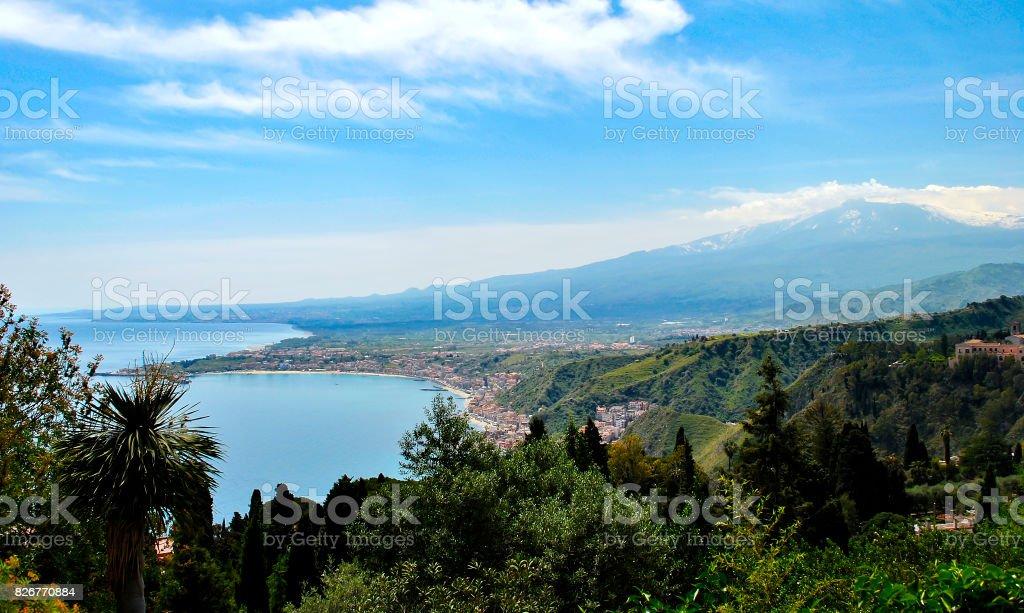 Giardini-Naxos bay with the Etna volcano stock photo