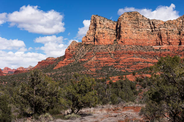 Gibraltar and Lee Mountain in Coconino National Forest, Arizona. stock photo