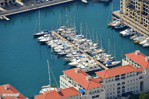 Gibraltar: Cormoran Camber docking basin seen from above - Queensway Quay marina - photo by M.Torres