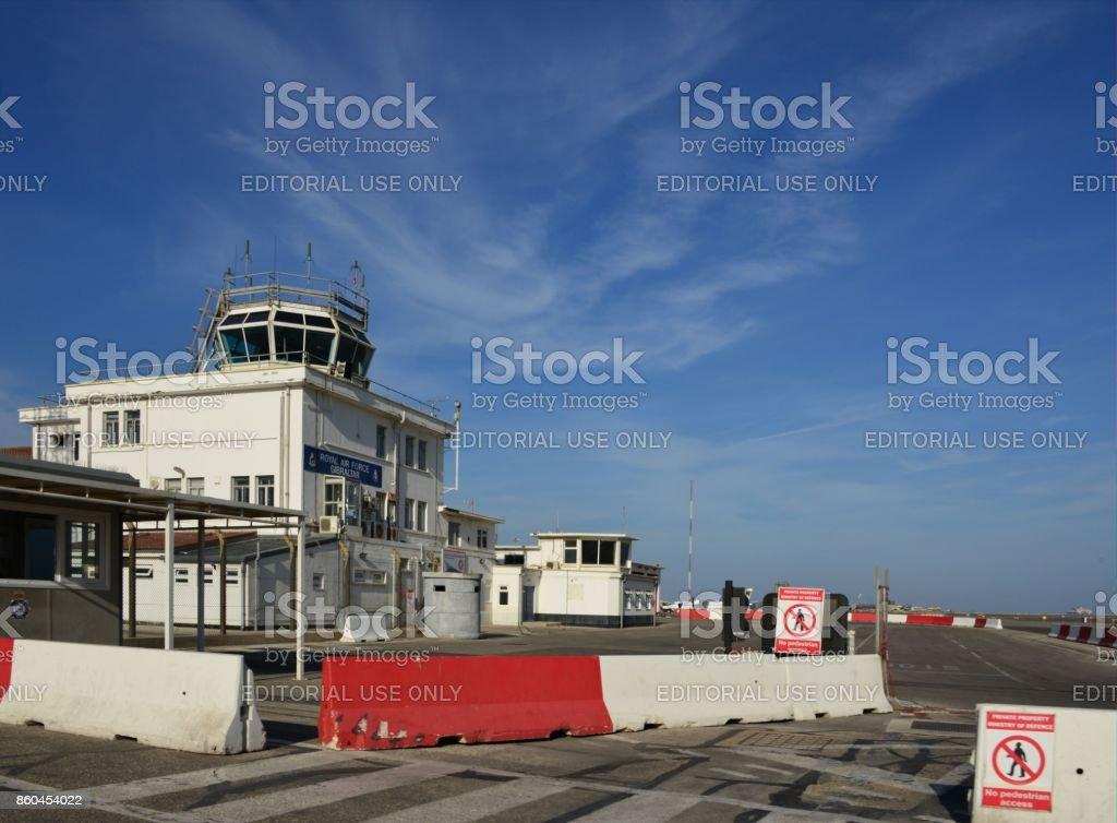 Gibraltar International Airport - Royal Air Force building (RAF) stock photo