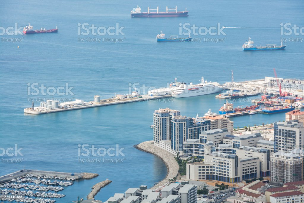Gibraltar panorama view from Upper Rock stock photo