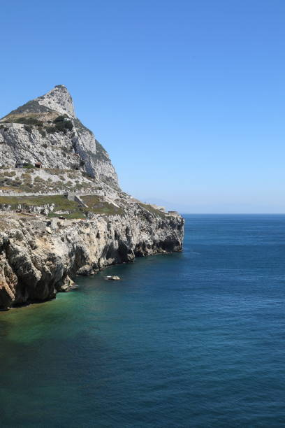 gibraltar rock seen from europa point - pejft stock photos and pictures