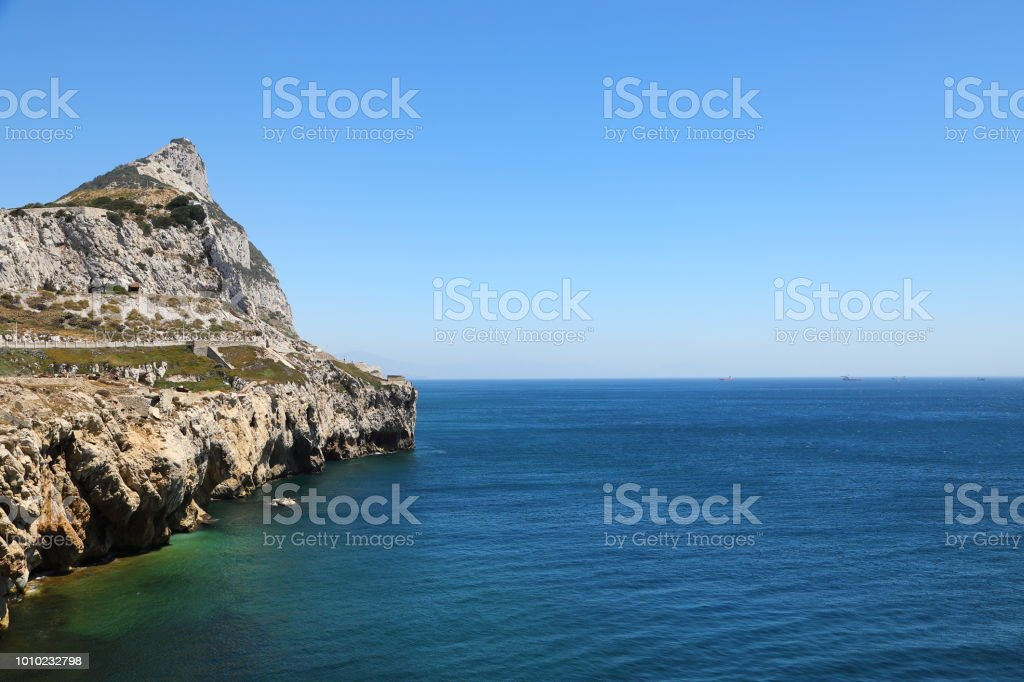 Gibraltar Rock seen from Europa Point stock photo