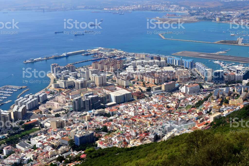 Gibraltar - the old town and the reclamation areas royalty-free stock photo