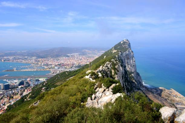 gibraltar - view from the crest of the rock - panorama - outcrop stock pictures, royalty-free photos & images