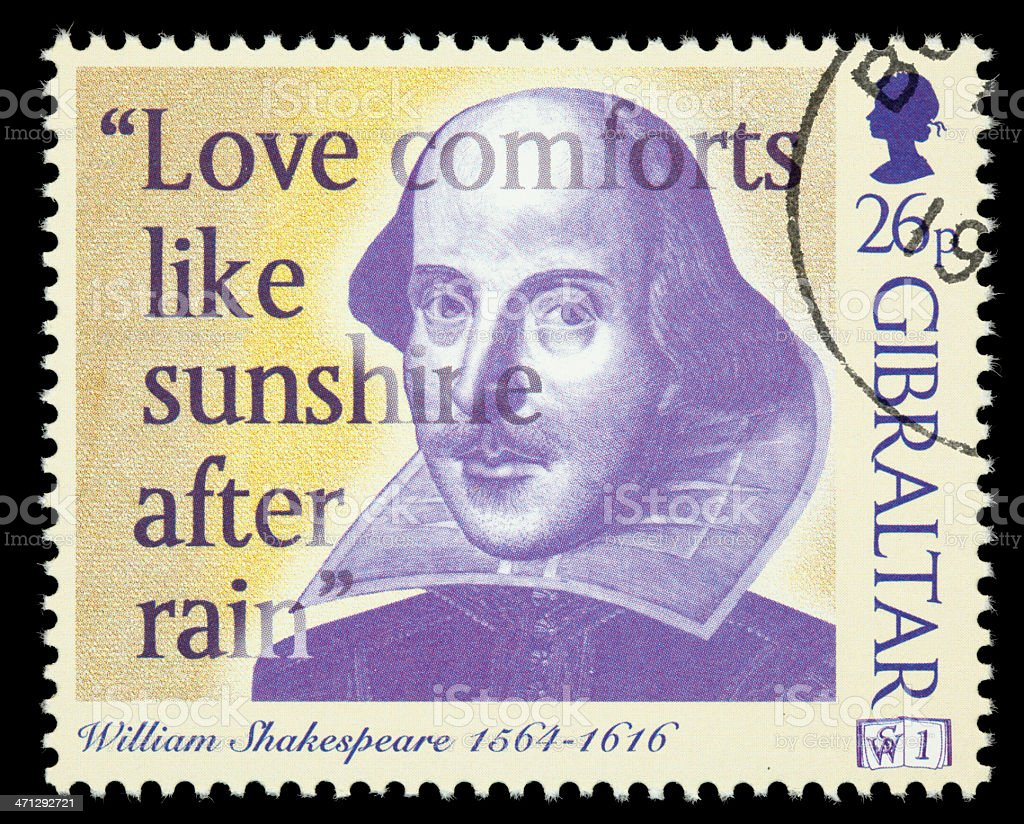Gibraltar William Shakespeare postage stamp royalty-free stock photo