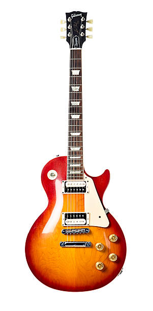 gibson les paul standard electric guitar - rock object stock pictures, royalty-free photos & images