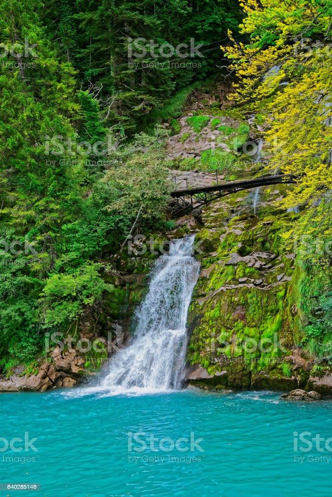Giessbach Falls at Lake Brienz Brienzer Rothorn mountain Bern Switzerland stock photo