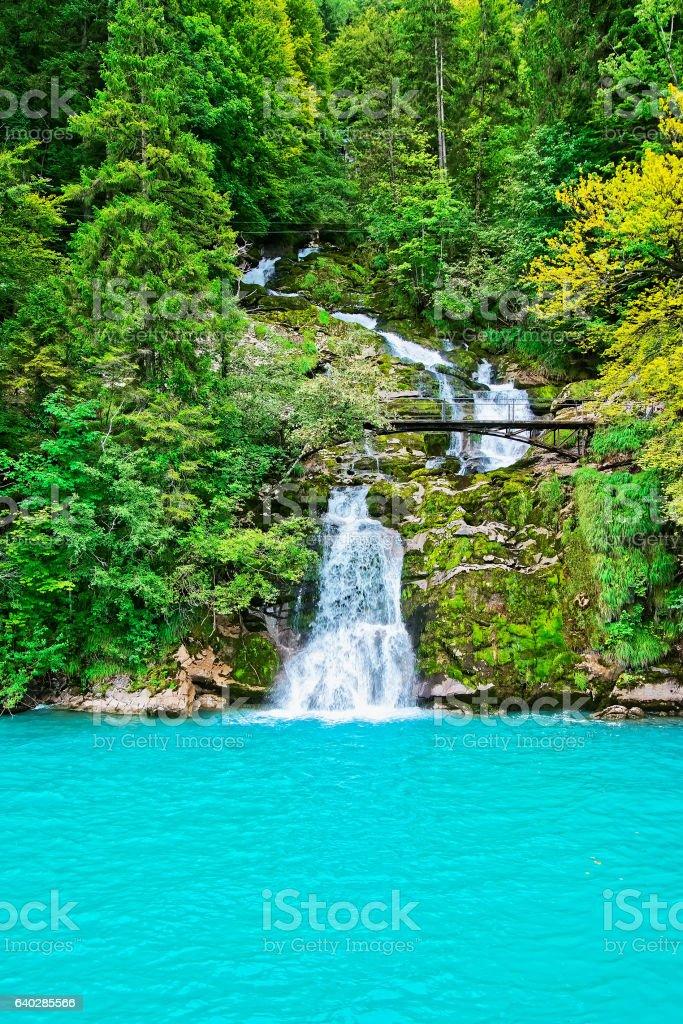 Giessbach Falls on Lake Brienz Brienzer Rothorn mountain Bern Switzerland stock photo