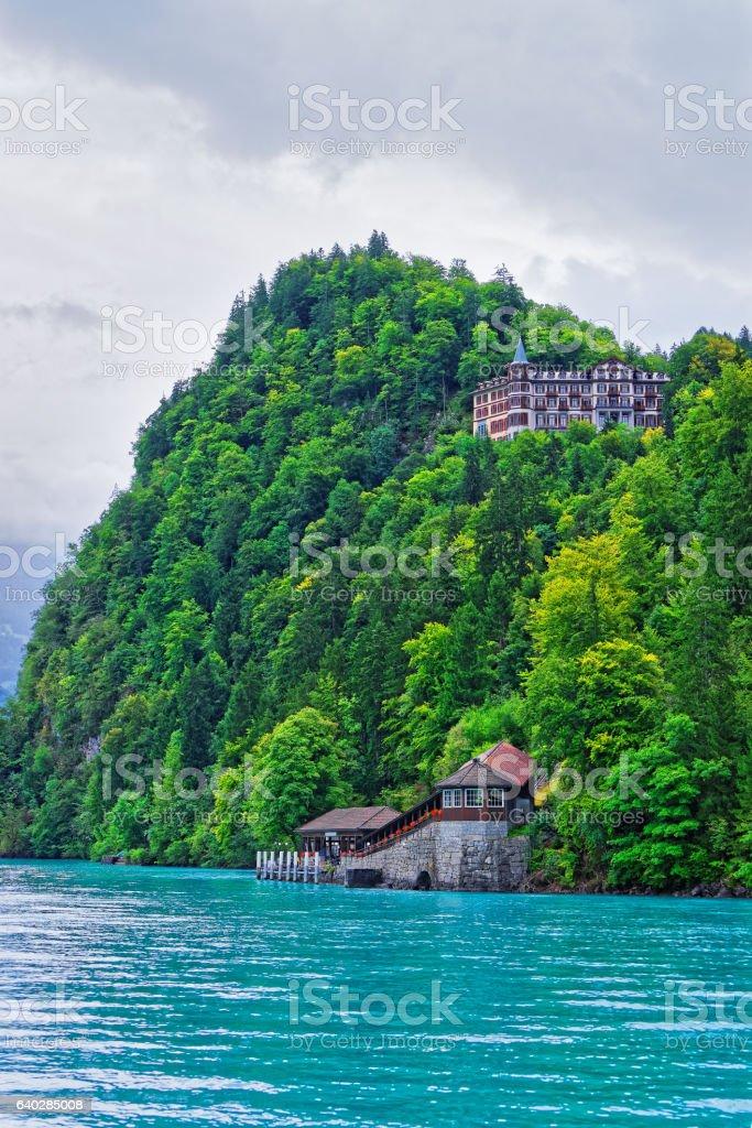 Giessbach landing stage Lake Brienz Brienzer Rothorn mountain Bern Switzerland stock photo
