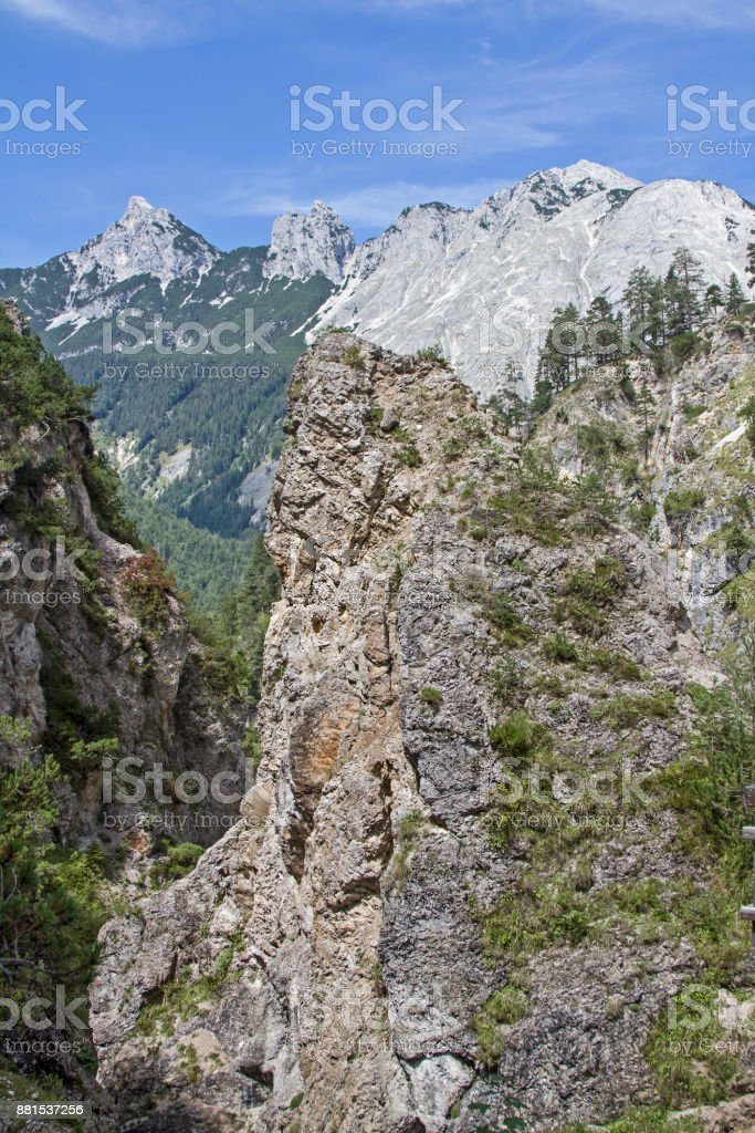 Giessenbach valley in the Karwendel mountains stock photo