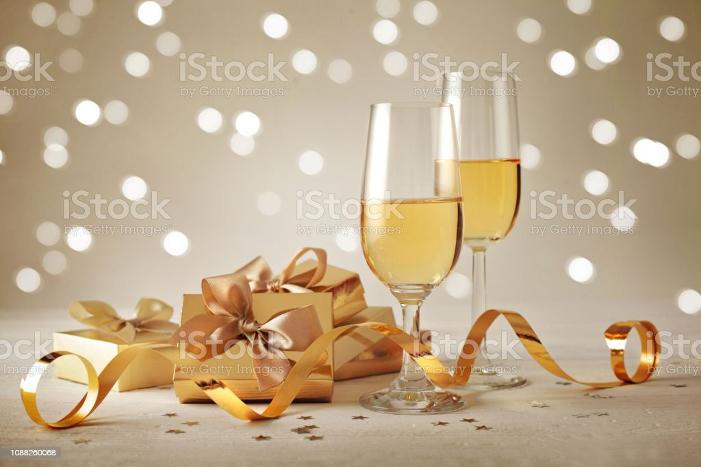 gift and champagne. happy new year stock photo