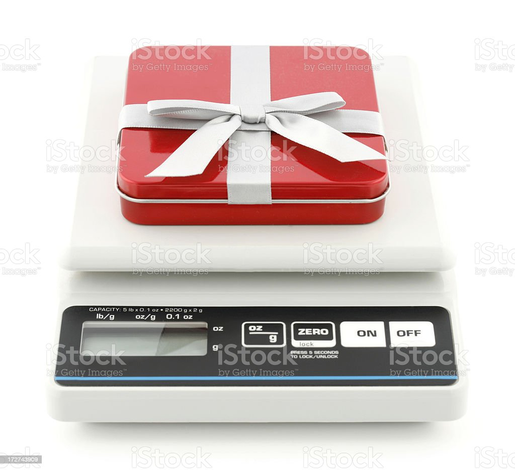 Gift and Electronic Scale stock photo