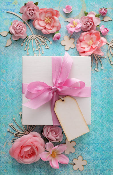 gift and flowers - gift tag note stock photos and pictures