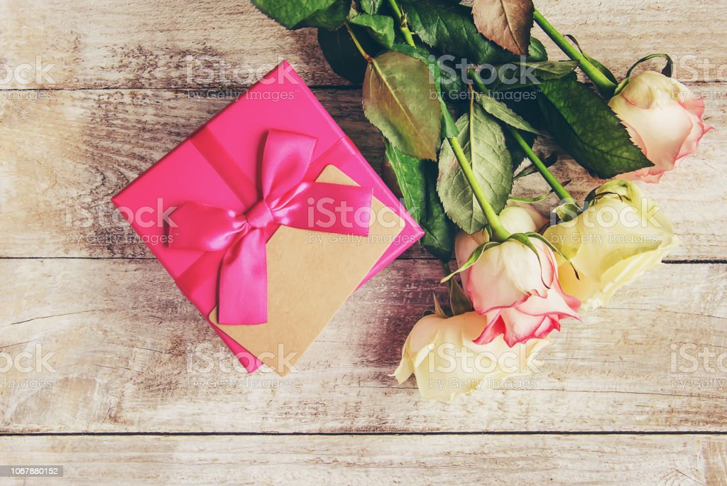 gift and flowers. selective focus. holideys and events. happy.