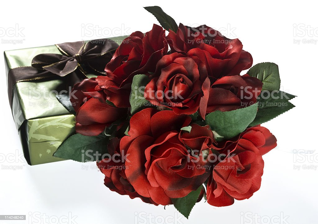 Gift and Roses royalty-free stock photo