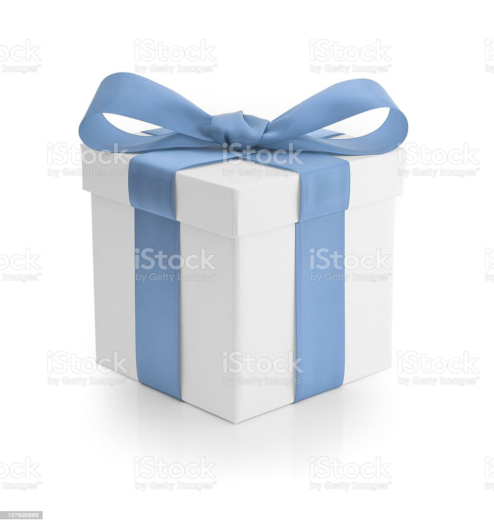 Gift - Baby Blue Ribbon royalty-free stock photo