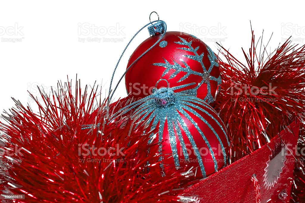 Gift bag full of red christmas toys royalty-free stock photo