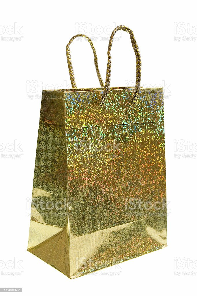 Gift Bag - Glittering Gold royalty-free stock photo