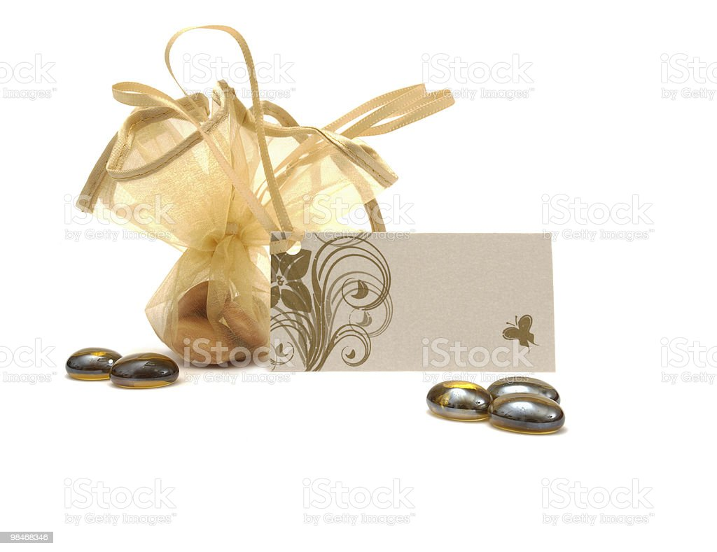 Gift, Bag of candies isolated on white royalty-free stock photo