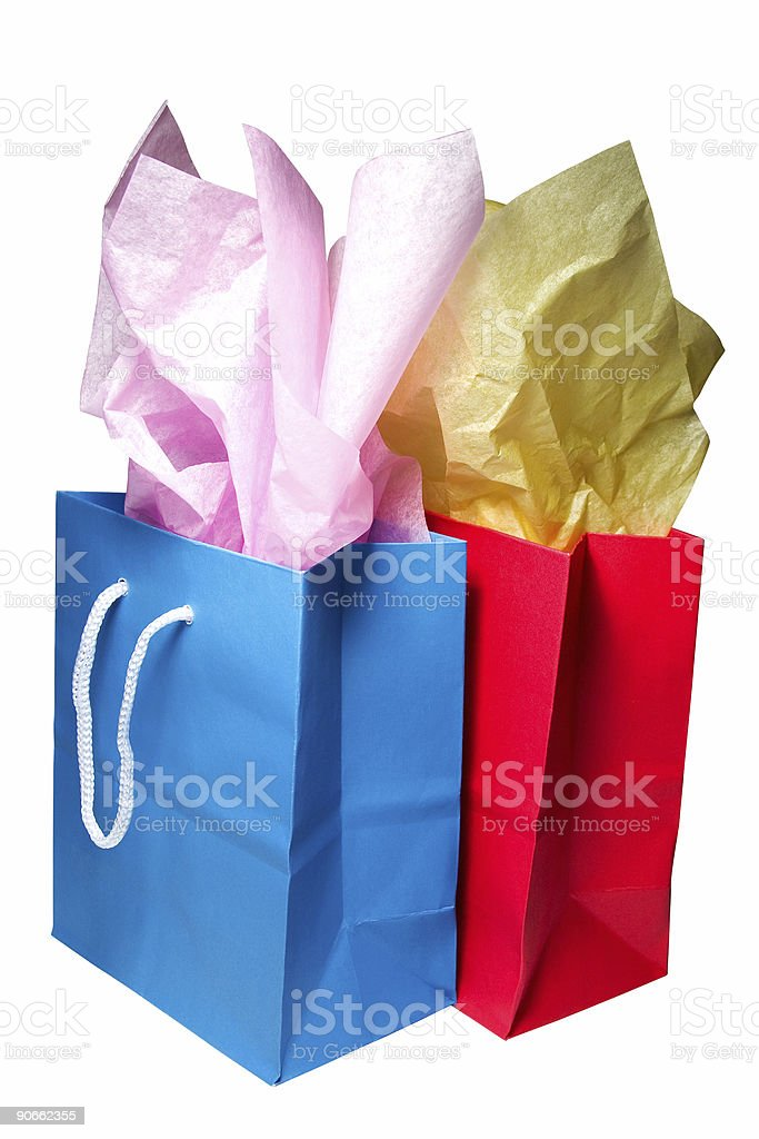 Gift Bags - Blue and Red royalty-free stock photo