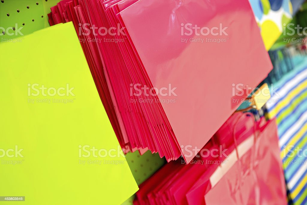 Gift bags  dispalyed in a store royalty-free stock photo