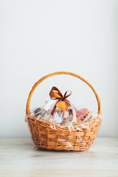 gift basket on gray background stock photo