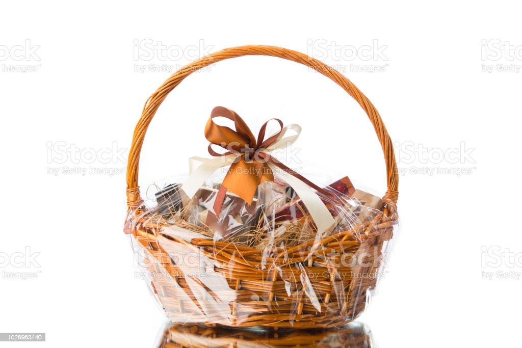 gift basket on white background royalty-free stock photo