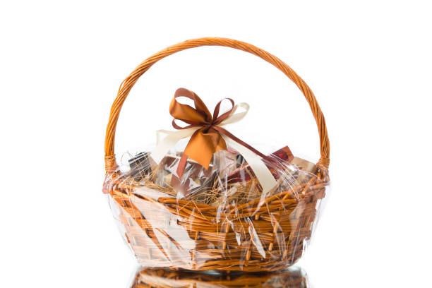 gift basket on white background gift basket isolated on white background wicker stock pictures, royalty-free photos & images
