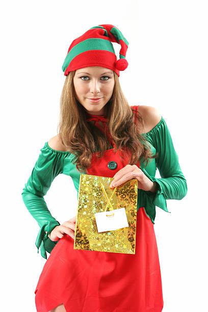 geschenk bearing elf - elfenkostüm damen stock-fotos und bilder