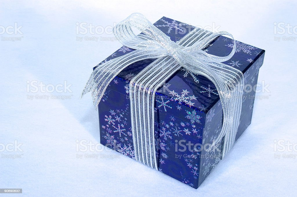 Gift, blue & silver royalty-free stock photo