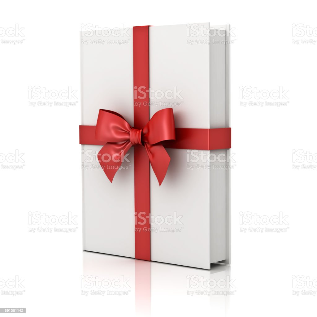 Gift book , blank book with red ribbon and bow isolated on white background with reflection stock photo