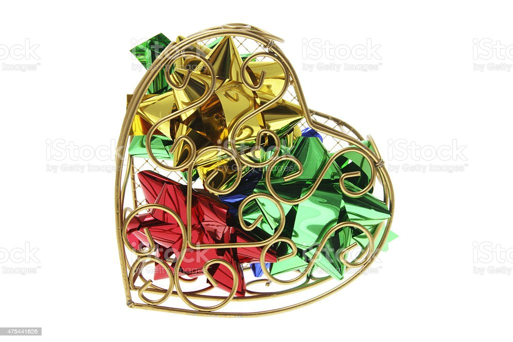Gift Bows in Heart-Shaped Metal Box stock photo