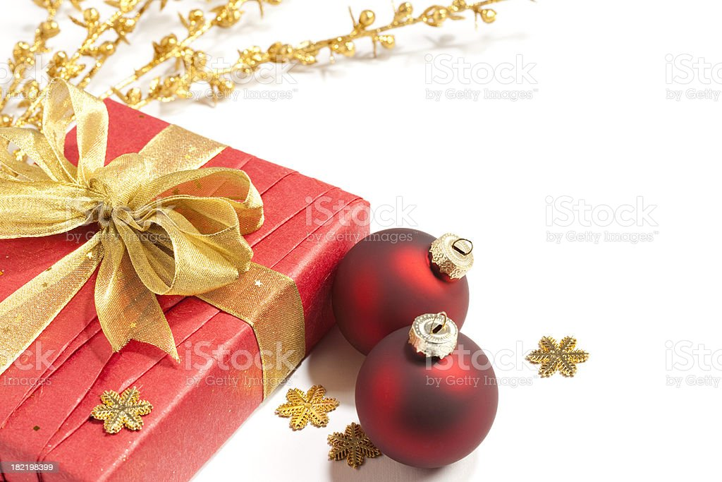 Gift Box and Christmas decorations royalty-free stock photo