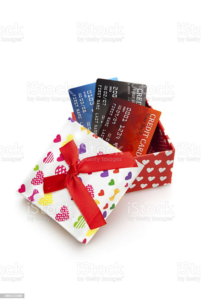 Gift Box and Credit Card stock photo