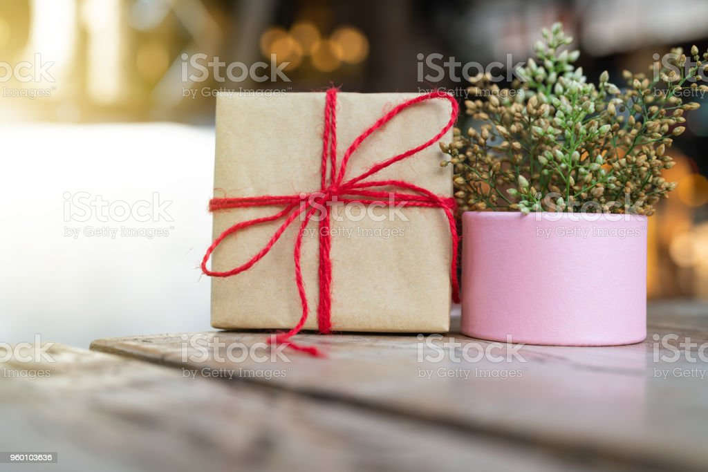 Gift box and flower, copy space for texting