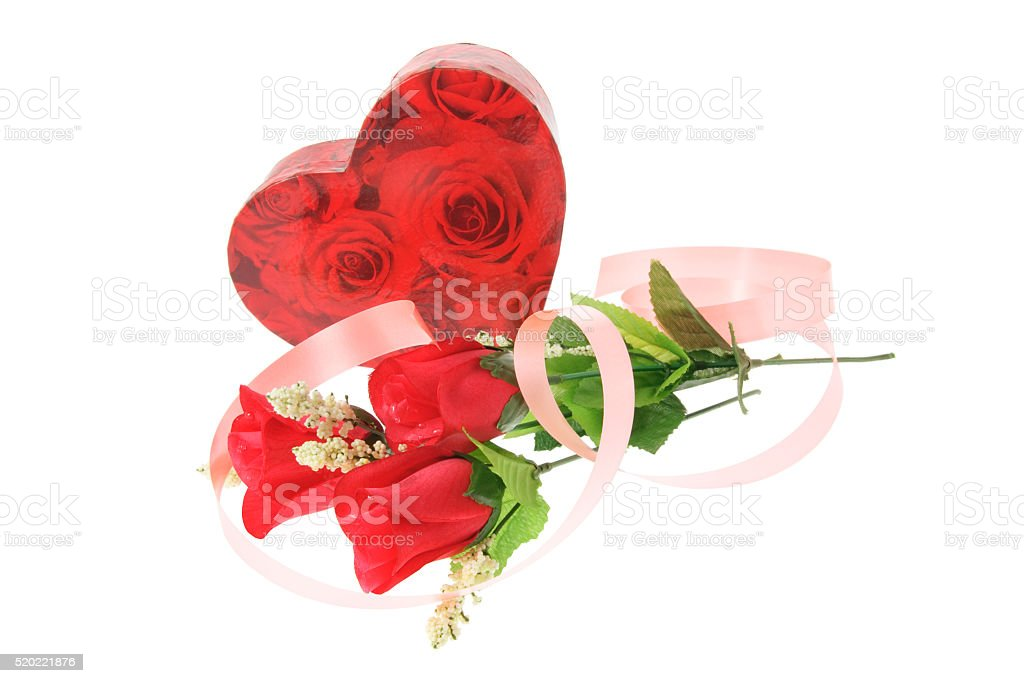 Gift Box and Red Roses stock photo