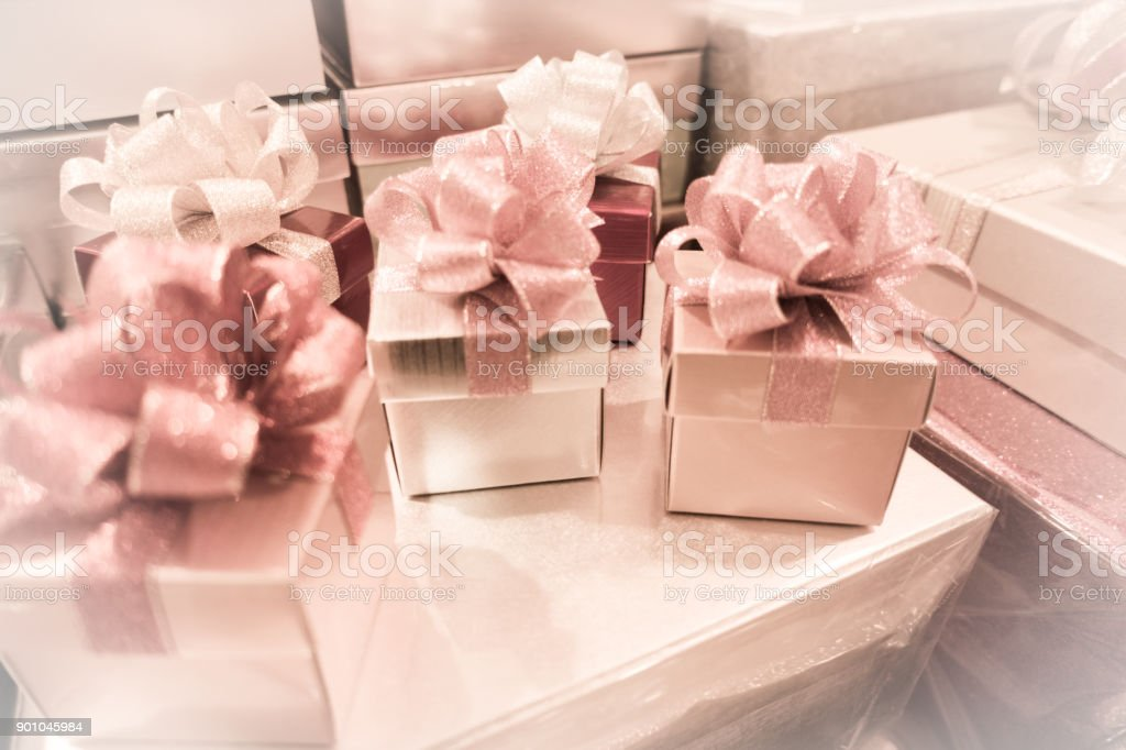 Gift Box And Ribbon Bow For Celebration Festival Event New Year