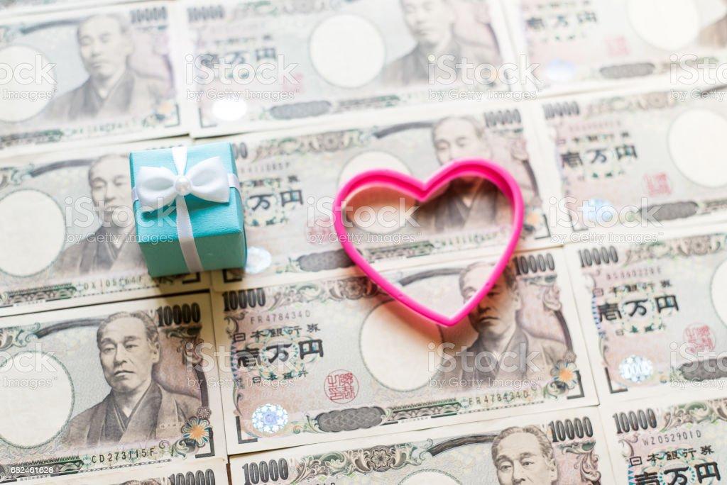 Gift box and ten thousands yen bills royalty-free stock photo