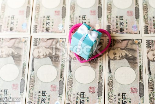 Gift Box And Ten Thousands Yen Bills Stock Photo & More Pictures of Anniversary