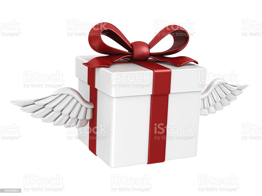 gift box and wings royalty-free stock photo