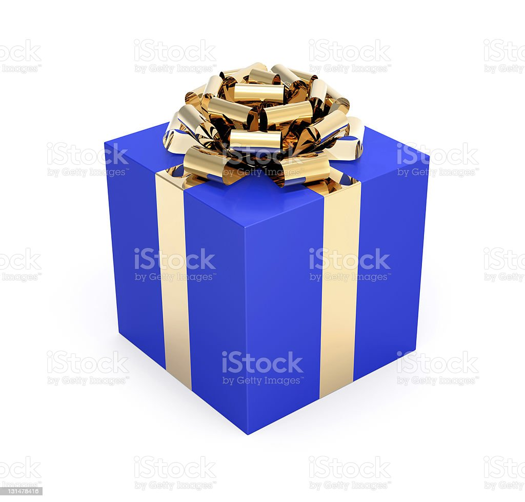 Gift Box Blue and Gold royalty-free stock photo