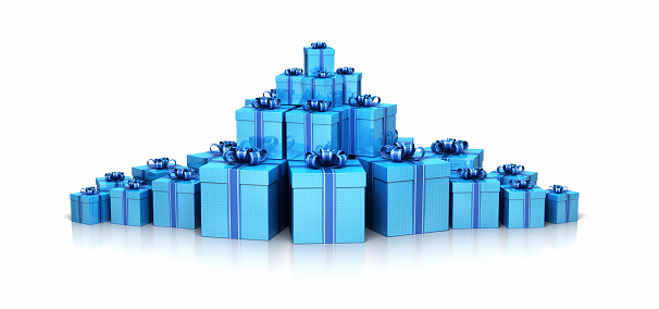 3d render Gift box blue (isolated on white and clipping path)