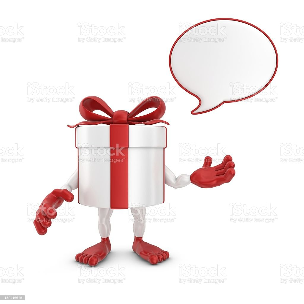 gift box  character with speech bubble royalty-free stock photo
