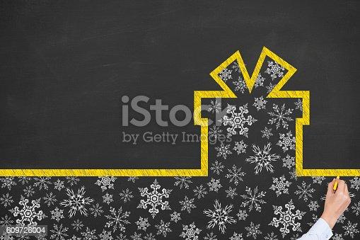 istock Gift Box Christmas on Blackboard 609726004