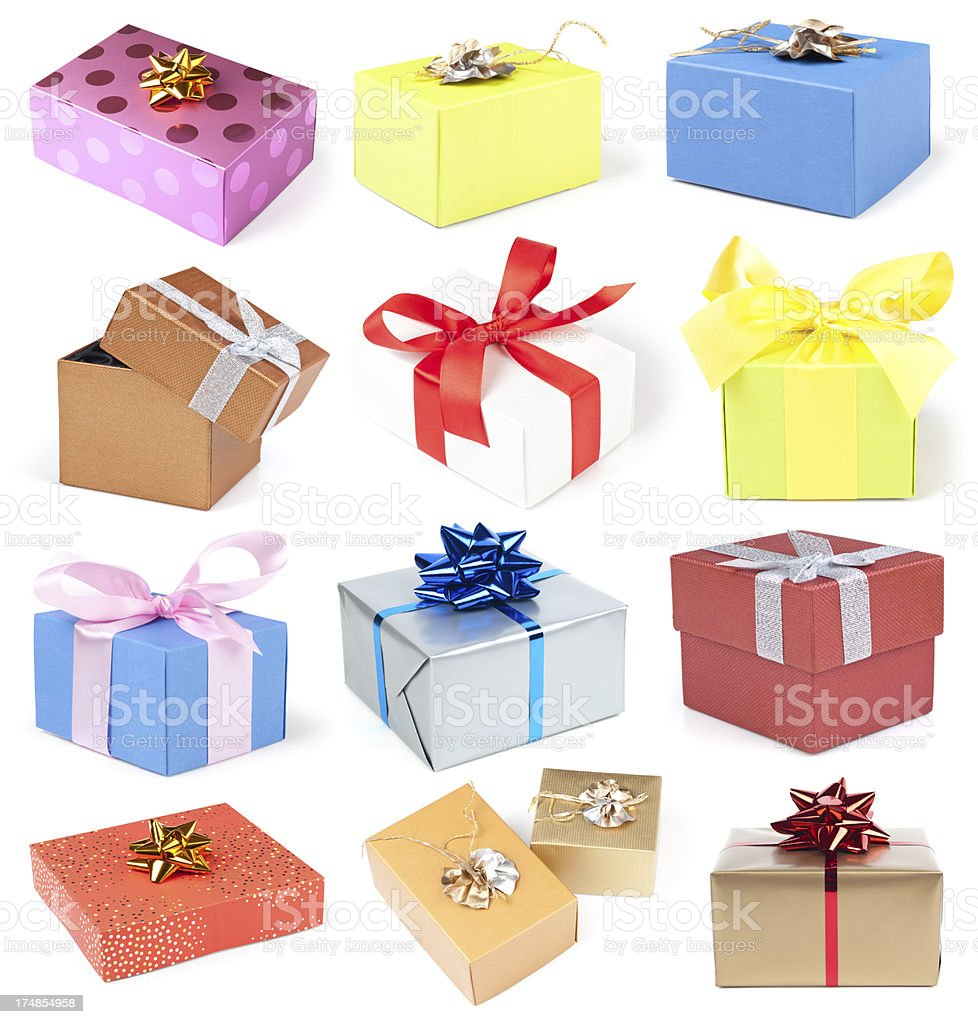 Gift box collection royalty-free stock photo