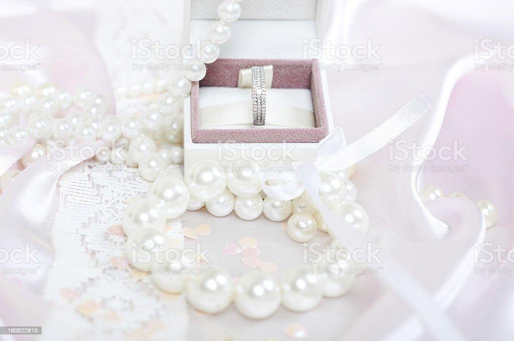 Gift box containing diamond ring royalty-free stock photo