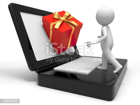 istock gift box from computer 476552201