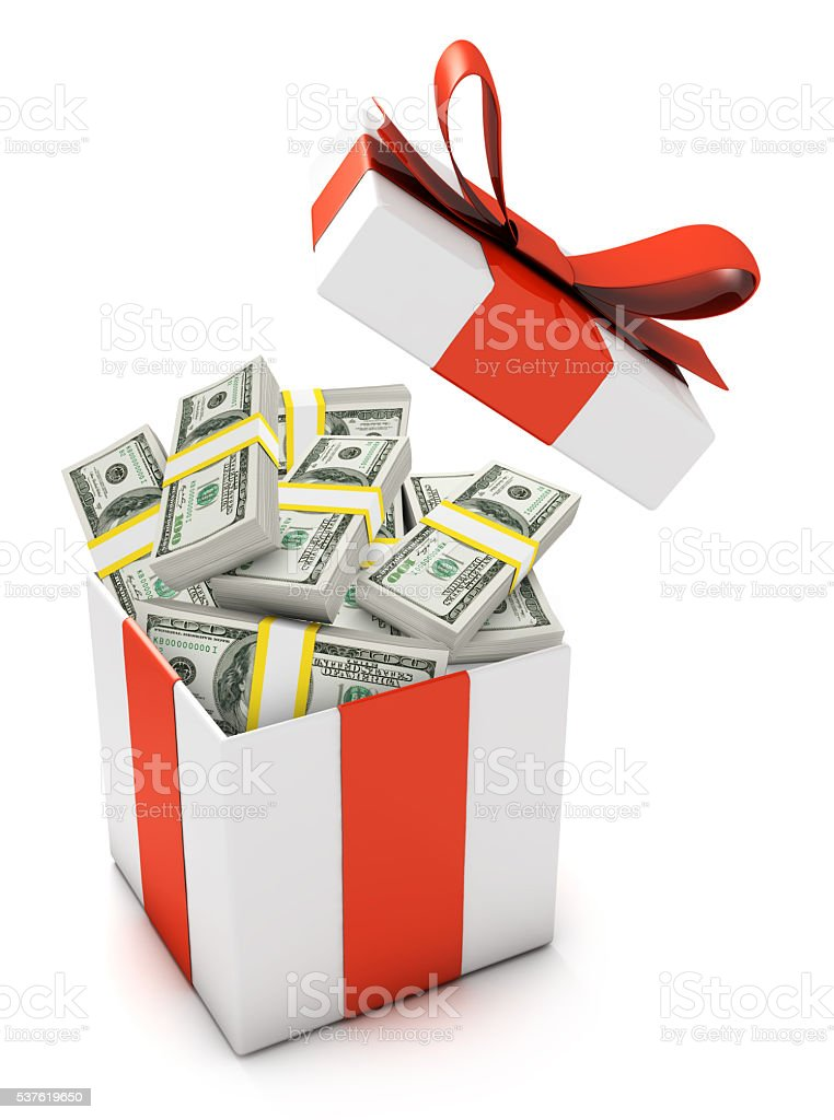 gift box full with dollar banknotes stock photo more pictures of