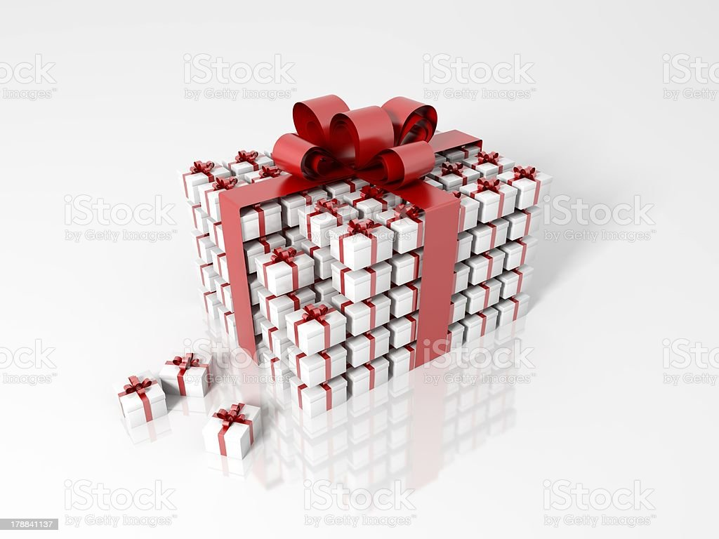 Gift box made of little boxes royalty-free stock photo